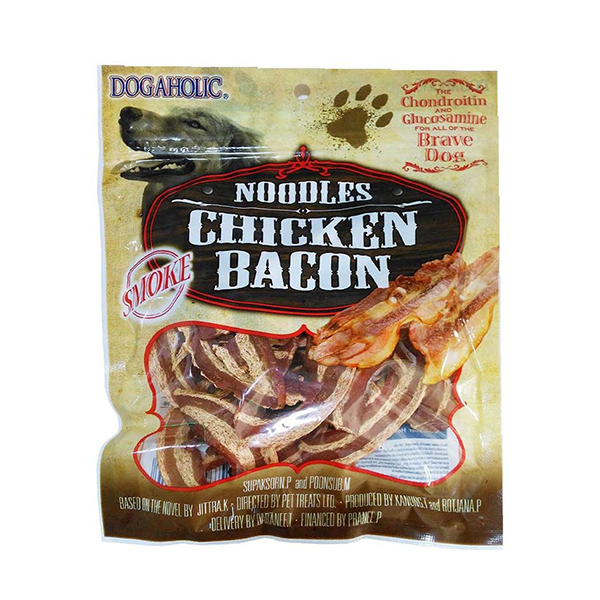 Dogaholic Noodles Chicken Bacon Strips Smoked Dog Treat - Petsnpets