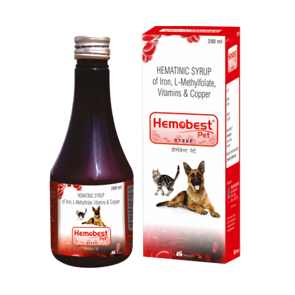 Hemobest Pet Iron and Vitamin Syrup for Dogs and Cats - Petsnpets