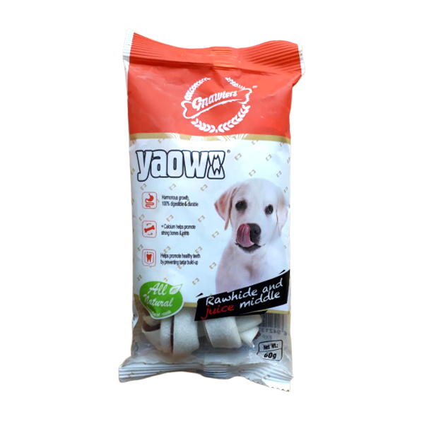 Gnawlers Yaowo All Natural Knotted Rawhide Dog Treats 60g - Petsnpets
