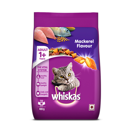 Whiskas Mackerel Flavour Adult Cat Food 480g - Petsnpets
