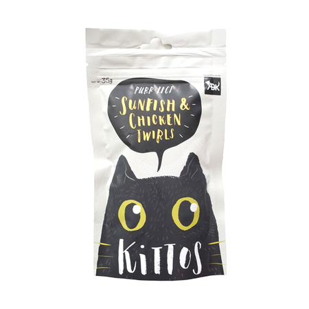 Kittos Sunfish and Chicken Twirls Cat Treats in Pouch - Petsnpets