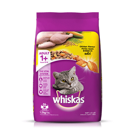 Whiskas Chicken Flavour Adult Cat Food 1.2Kg - Petsnpets